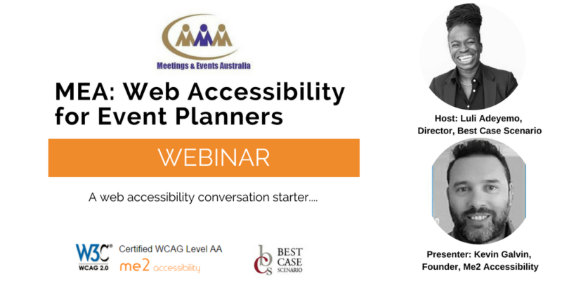 A banner advertising a webinar on web accessibility